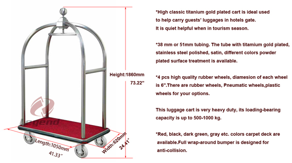 Hot selling hotel luggage trolley cart from China supplier.jpg