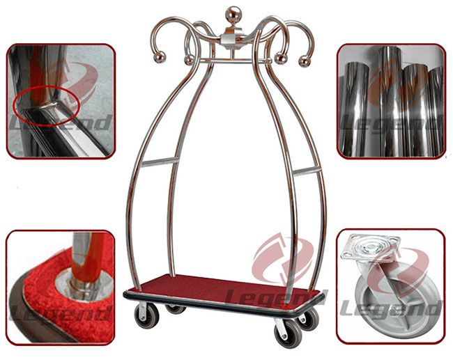 Flower shape hotel heavy duty luggage trolley.jpg