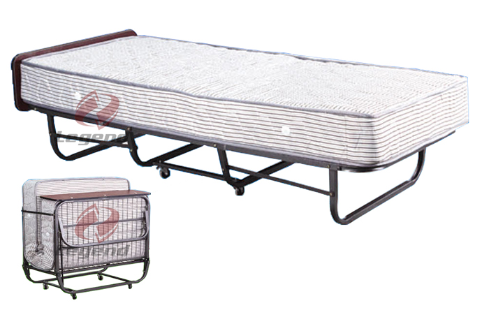 Foldable standing hotel rollaway bed with spring mattress.jpg