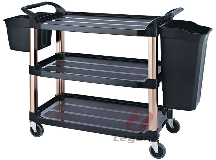 Heavy Duty hotel cleaning trolley plastic janitor cart.jpg