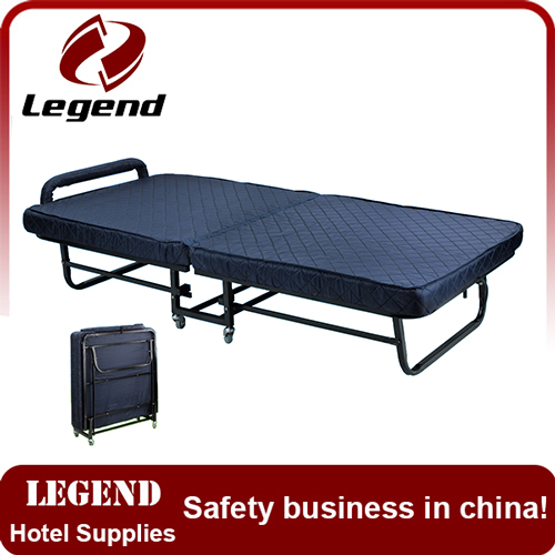 Foldable standing hotel rollaway bed with spring mattress