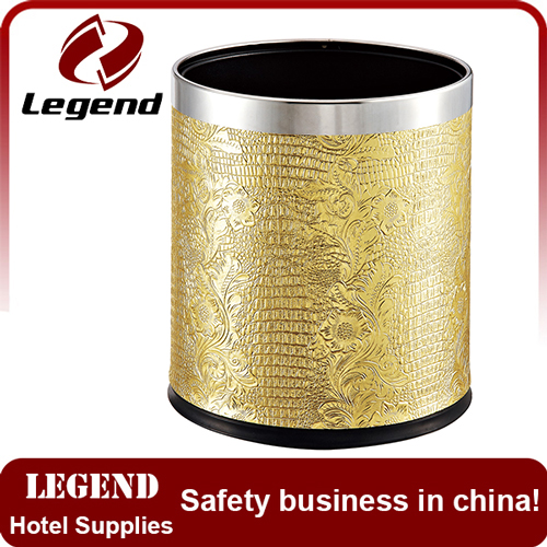 China round PU covered trash can metal rubbish bin