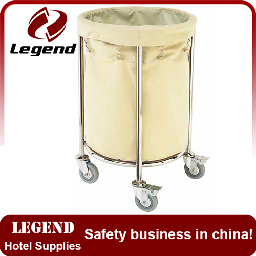Hotel Cleaning Service Stainless Linen Trolley