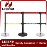 Double belt crowd control stanchion